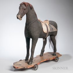 Wood and Stuffed Fabric Riding Horse Toy