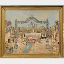 French School, 20th Century      Gloire à Dieu   Folk-Art Collage of a French Square with an Outdoor Altar and Religious Procession