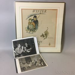 Framed Norman Rockwell 1949 Calendar Print and an Album of Photographs.     Estimate $20-200