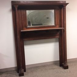Neoclassical-style Carved Oak Mirrored Mantel