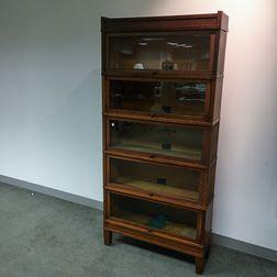 Globe-Wernicke Glazed Oak Five-stack Barrister Bookcase