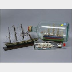 Two Ship Models in Bottles and a French Painted Wood Sailing Ship Model.