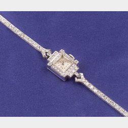 Lady's 14kt White Gold and Diamond Wristwatch, Longines