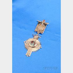 Masonic 14kt Gold and Enamel Medal