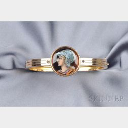 Antique 18kt Gold and Enamel Bangle Bracelet, Tiffany & Co.