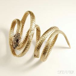 14kt Gold, Platinum, Diamond, and Ruby Snake Wrap Bracelet