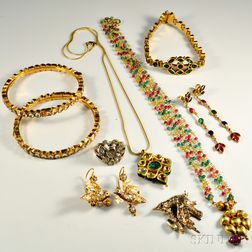 Group of Gold Gem-set Indian Jewelry