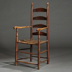 Red-stained Maple and Ash Slat-back Armchair