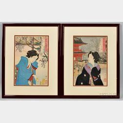 Two Tsukioka Yoshitoshi (1839-1892) Woodblock Prints