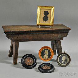Five Miniatures and a Mahogany Stool