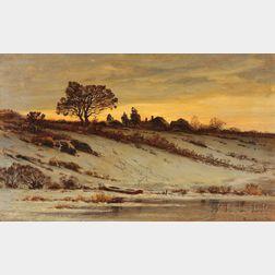 John Joseph Enneking (American, 1841-1916)      Winter Scene at Dusk