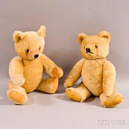 Two Steiff White Mohair Teddy Bears