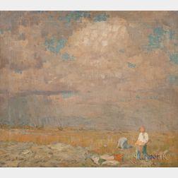 William Langson Lathrop (American, 1859-1938)      Summer Landscape with Figures at Harvest
