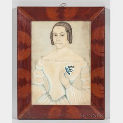 American School, Mid-19th Century      Portrait of a Young Woman Holding a Floral Sprig