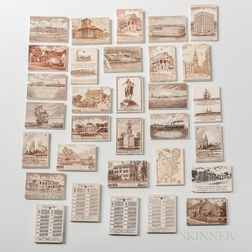 Thirty-one Wedgwood Transfer-decorated Calendar Tiles with Images of Boston Landmarks