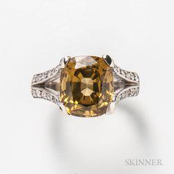 14kt White Gold, Yellow Zircon, and Diamond Ring
