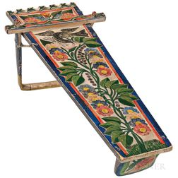 Mohawk Carved and Painted Wood Cradle Board