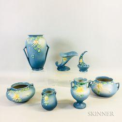 Seven Roseville Pottery Columbine Blue Vases