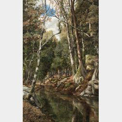 Francis Thayer (American, 19th/20th Century)      Forested Stream