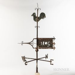 Sheet Copper and Iron Banner and Rooster Weathervane