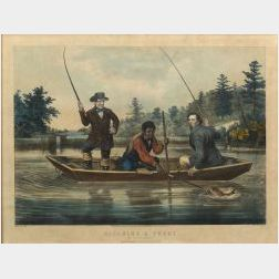 """Nathaniel Currier, publisher (American, 1813-1888)  CATCHING A TROUT.  """"We hab you now, sar."""""""