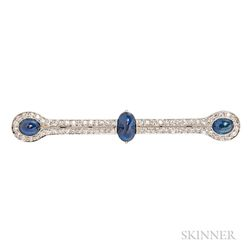 Art Deco Platinum, Sapphire, and Diamond Bar Brooch