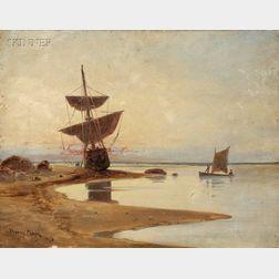 C. Myron Clark (American, 1876-1925)      Sailing Vessel at Shore.