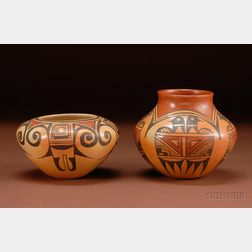 Two Contemporary Southwest Polychrome Pottery Bowls