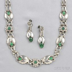 .830 Silver and Green Onyx Necklace and Earpendants, Georg Jensen