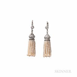 Platinum, Pearl, and Diamond Tassel Earrings