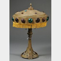 """Continental Patinated White-metal and """"Jeweled"""" Art Nouveau Table Lamp"""