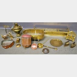 Sixteen Assorted Mostly Brass and Copper Hearth Items