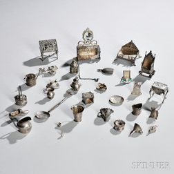 Group of English and Continental Silver or Silver-plate Miniatures