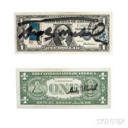 Andy Warhol (American, 1928-1987)      Signed One Dollar Bill.