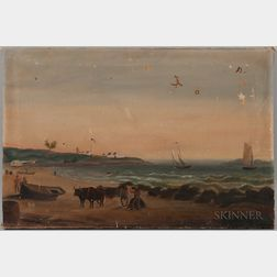 A.L.P. Skillinge (American, 19th Century)      View of the Forts From Siminton's Cove, Portland Harbor
