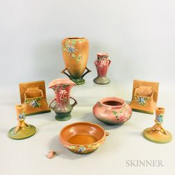 Group of Roseville Pottery Columbine Pink and Brown Items