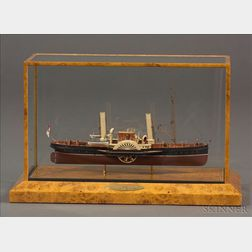Cased Model of the British Paddle Steamer Volcano