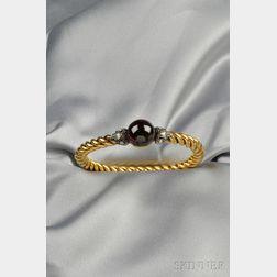 Antique 18kt Gold, Garnet, and Diamond Bracelet