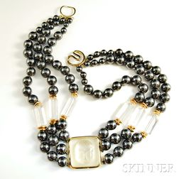 Hematite and Rock Crystal Necklace