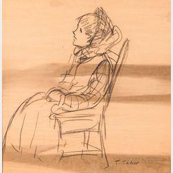 Tasha Tudor (American, 1915-2008)      Portrait of a Thayer Academy Student