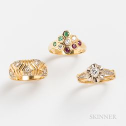 Three 18kt Gold and Diamond Rings