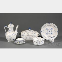 Extensive Royal Copenhagen Porcelain Blue Flute Luncheon Service