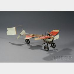 """Einco """"Bleriot"""" Wind-up Lithographed Tin Airplane Toy in Original Box"""