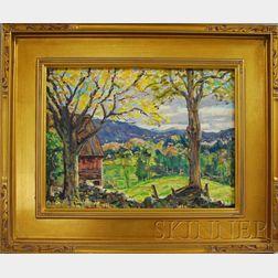 Edgar Otis Miner (American, 1915-2003)      October in Vermont, Near Landgrove