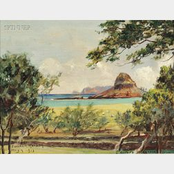 David Howard Hitchcock (American, 1861-1943)      View of Mokoli'i Island, Kualoa Ranch, Oahu, Hawaii