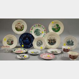 Sixteen Pieces of English Transfer and Hand-painted Staffordshire Tableware