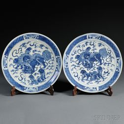 Pair of Blue and White Chargers