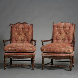 Pair of French Provincial-style Fruitwood Upholstered Fauteuil