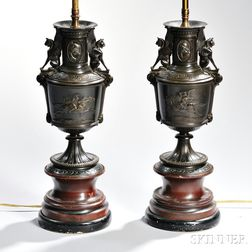 Pair of Bronze Neoclassical Vase Lamp Bases