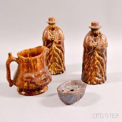 Four Pieces of Rockingham-glazed Pottery